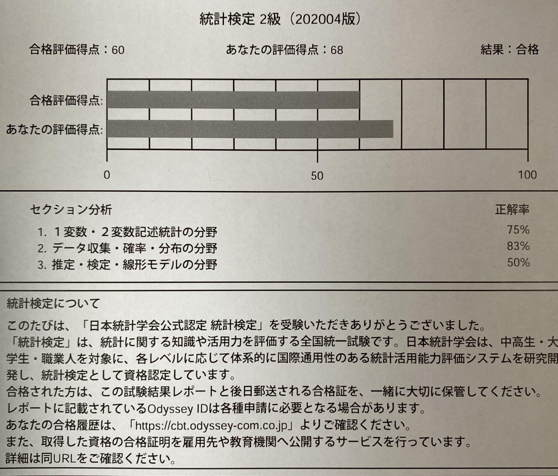 統計検定2級結果